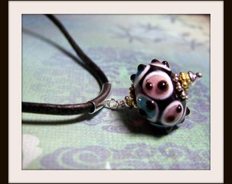 Glass Bead Pendant Necklace, Blue, Pink, Black and White, Gifts For Her, Dotted Bead, Simple, Leather Jewelry