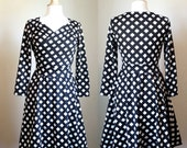 Womens Black and white diamond Print Dress, Sweetheart Crossover Dress Jersey 3/4 Sleeve Dress black Full Skirt Party Dress - Made to Order
