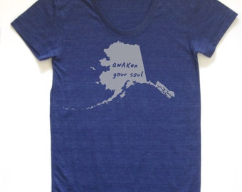 alaska shirt, alaska tshirt, graphic t, state pride, woman fashion t, gray tshirt, screen print, silkscreen, free shipping