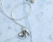 Silver Lucky Charm Necklace — Four Leaf Clover & Wishbone Layering