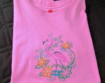 Flamingo and Flower Fancy Tee