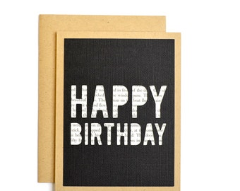 Literary Happy Birthday Card, Reader Birthday Card, Bookish Greeting Card, Unique Birthday Card for Reader or Writer