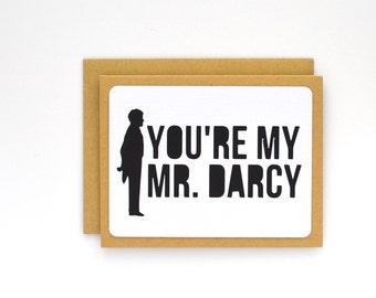 Pride and Prejudice Card, Love Card, Romantic Anniversary Card for Him, Book Lover, Bookworm, Jane Austen fan, Mr. Darcy,