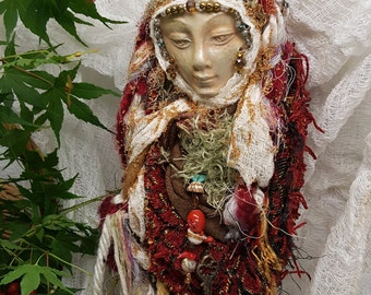 Equinox Moon,  Doula Spirit of Protection and Compassion, Art Doll Assemblage.