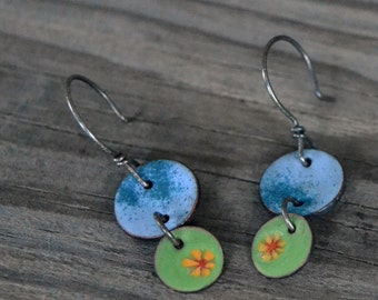 meadow enameled earrings