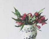 Pottery vase - large ceramic vase - celadon glaze handpainted leaves pattern