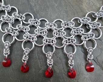 Chainmaille Necklace- Byzantine Weave - Red Swarovski Drops - Chainmaille Jewelry