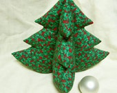 """RESERVED - Green Ivy Tree - 12"""" green on red plush Christmas tree"""