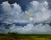 14 Minute Storm, Original Landscape Painting, Original Art, Storm, Wind, Clouds, Blue Sky, Trees, Cloudscape, Winjimir, Home Decor, Art