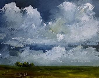 14 Minute Storm, Original Landscape Painting, Original Art, Storm, Wind, Clouds, Blue Sky, Trees, Cloudscape, Winjimir, Home Decor, Art