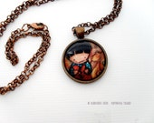 Mending a Broken Heart mixed media print necklace