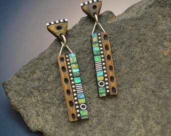 long dangle post earrings Iridescent green blue yellow polymer sterling silver faux burl wood sterling posts beads triangle tops