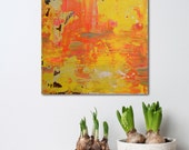 """Small 12x12"""" Abstract Painting - Orangeade - textured acrylic on wood panel - paint scrape build up - Giftable Art - Yellow and Orange"""