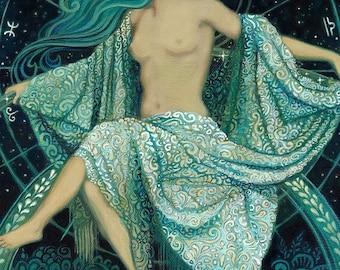 Asteria Goddess of the Stars 12x18 Poster Print Greek Mythology Art Print Pagan Psychedelic Bohemian Gypsy Witch Goddess Art