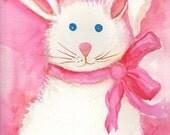 Bunny Watercolor Painting Original, Small bunny wall art, white rabbit artwork,  watercolor rabbit  paintings original, bunny pink bow