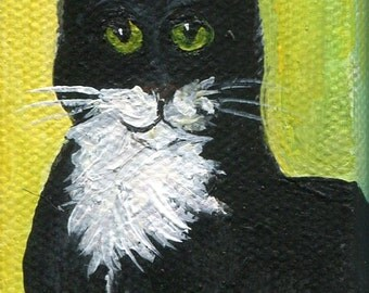 Black and white Tuxedo kitty cat original  mini painting on Canvas with Easel, cow kitty mini canvas art