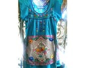 Mexicana Apron Dress, Mini Dress, Blue, Embroidery, Long Top, Tunic, Hand Embroidered, Boho, Folk, Rustic