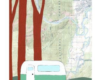 National Forest Map Print // Map Art // Camper Art // Airstream Art // Camping Art // Cabin Art // Travel Art // Rachel Austin Art 11x14