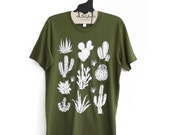 SALE Unisex M  Olive Tee with Cactus Screen Print - White ink