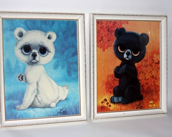 Lot of 2 Big Eye Bear Lee Art Prints Vintage 1960s