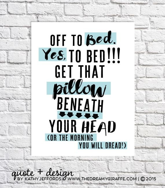Funny quote print bedroom wall art kids bedtime routine sign Funny bedroom
