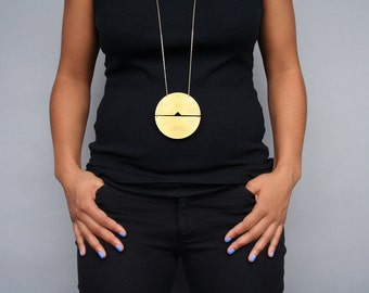 Megan Necklace - 3in or 2in statement geometric minimal bold huge large big round circle brass gold arrow disc