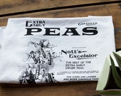 Peas Print Flour Sack Towel. Silkscreened organic cotton or white Egyptian cotton tea towel. Dish towel, bar towel. Seed catalog print.