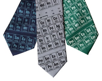 Periodic Table of the Elements Tie. Scientific Chart Printed Silk Necktie. Science teacher gift, chemistry teacher gift.