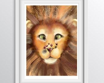 Kids Lion Print - Lion and the Lady Beetles - Alphabet Art for children: L - A4 fine art print for children's rooms