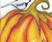 "Bird Chickadee Pumpkin Print on wood 3.5"" x 3.5"" reproduction mini prints  Autumn Fall Holiday Art Decoration"