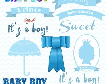 Blue Baby Shower Clip Art Pack, Baby Boy Clipart, Baby Shower Clip Art,