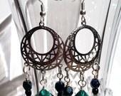 Emerald Green D10 Silver Chandelier Earrings with Czech Glass Beads for Classy Femme D&D Gamers