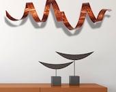 Copper Modern Metal Wall Art, Indoor Outdoor Wall Sculpture, Garden Art, Metal Wall Decor - Copper Wall Twist by Jon Allen