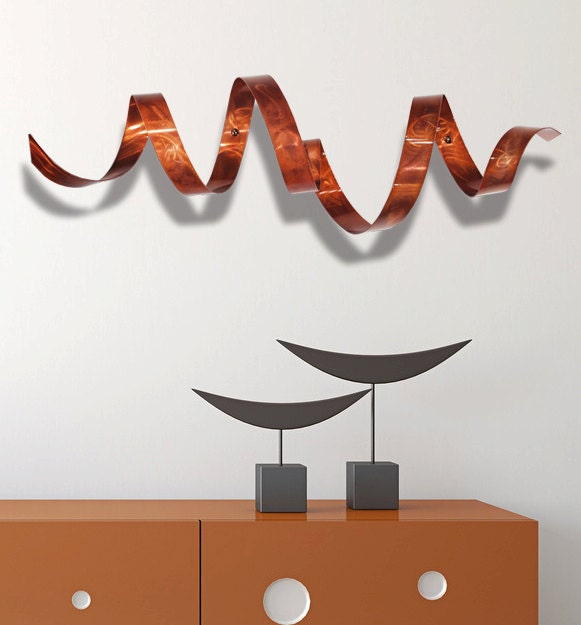 Copper Modern Metal Wall Art, Indoor Outdoor Wall Sculpture, Home U0026  Garden Art,