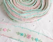 Vintage pink and blue embroidered floral trim (new old stock)