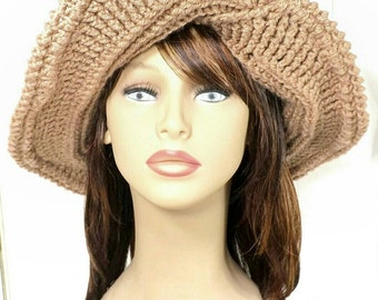 Crochet Hat Womens Hat Trendy, Womens Crochet Hat, Steampunk Hat, Toasted Almond Hat, FRONTIER Wide Brim Hat, 40th Birthday Gift for Women