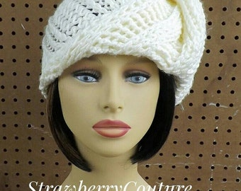 Ivory Crochet Hat Womens Hat, Womens Crochet Hat, African Headwrap, Ivory Hat Deitra Turban Hat Ivory Head Scarf Wrap, Unique Head Scarf