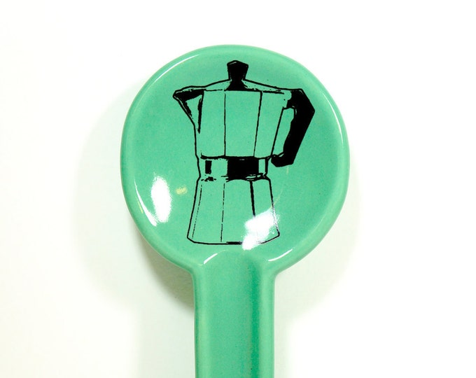 Featured listing image: spoon rest with a moka pot - Made to Order / Pick Your Colour