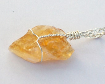 Natural Citrine Pendant - Silver Wire Wrapped Citrine - Citrine Gemstone Necklace - November Birthstone Pendant - Citrine Crystal Necklace