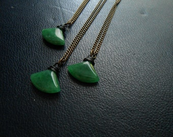 hatchet - forest green aventurine faceted fan bead necklace - minimal occult jewelry - goth festival fashion