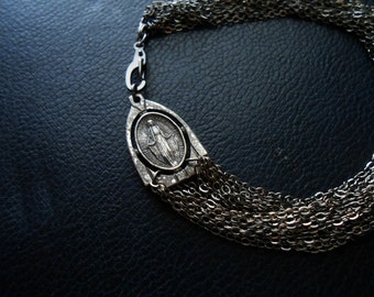 altar bracelet - silver gunmetal multi chain art deco virgin mary  - catholic occult jewelry