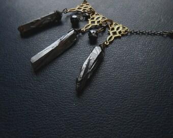 strange kind of love - filigree, silver crystals, hematite rhinestone bib choker necklace - elegant victorian goth occult witchy jewelry