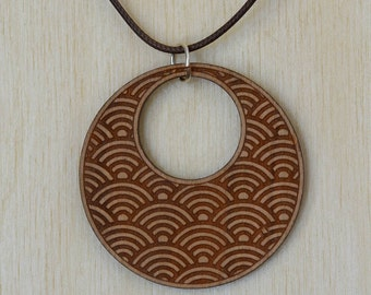 Japanese Wave Round Cherry Wood Necklace