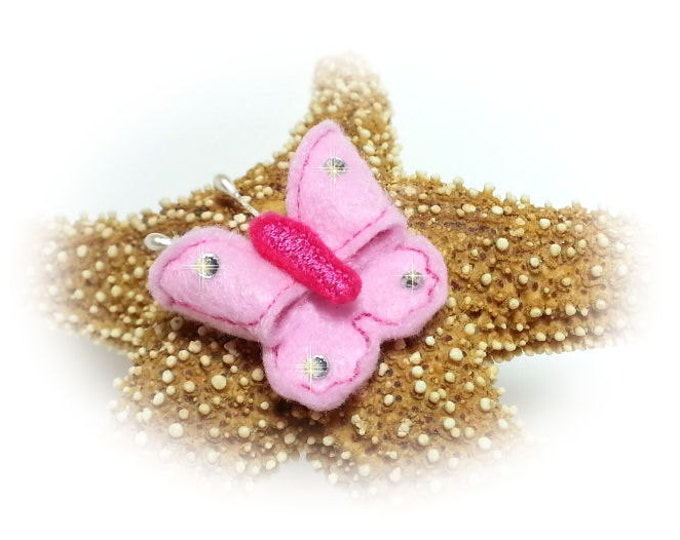Butterfly Dog Bow, Felt Butterfly, Dog Bow Butterfly, Butterfly Puppy Bow, Pink Butterfly