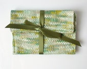 Green linen clutch bag knitted purse olive ribbon tie floral fabric pouch memake handmade fashion accessory