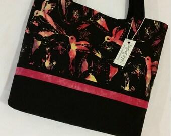 Hummingbirds on Batik purse tote bag handbag