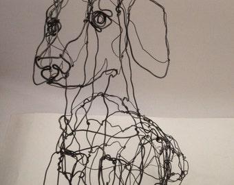 Dachshund-Wire Dog Drawing Sculpture Art