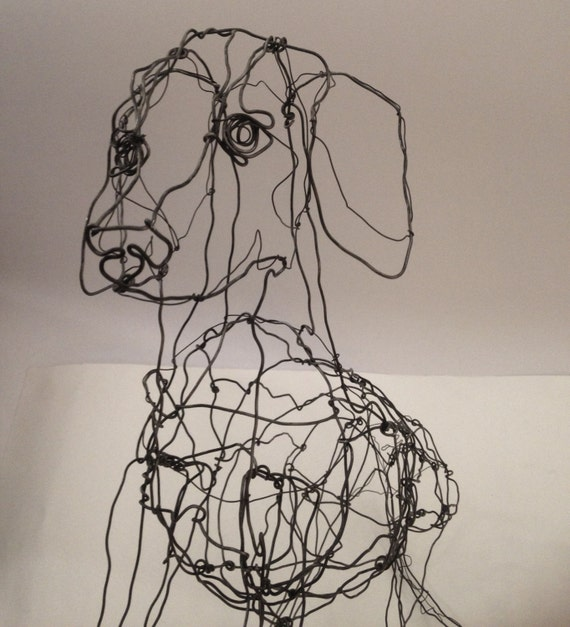 Dachshund wire dog drawing sculpture art by for Dog wire art