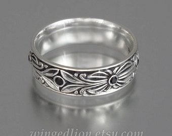 The COUNT sterling silver wedding band with Black Spinel