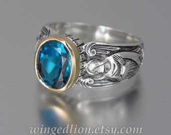 RESERVED for H. 2nd payment - GUARDIAN ANGELS silver 14K ring with London Blue Topaz